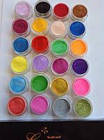 Набор цветного акрила с блёстками СОСО 24 шт
