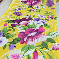 Вафельная ткань с яркими цветами на желтом фоне, ширина 40 см, фото 1