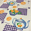 Вафельная ткань с апельсинами и чайником, ширина 40 см
