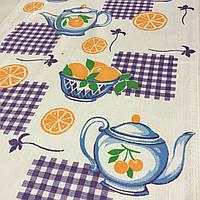 Вафельная ткань с апельсинами и чайником, ширина 40 см, фото 1