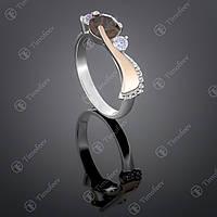 Серебряное кольцо с раухтопазом и фианитами. Артикул П-389