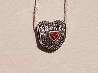 Серебряная подвеска-шарм Тройное сердце с фианитами. Артикул П5ФГ/786