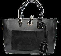 Строгая женская сумка из искусственной кожи черного цвета NNQ-000653