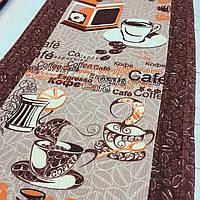 Вафельная ткань с кофе и кофемолкой, ширина 40 см, фото 1