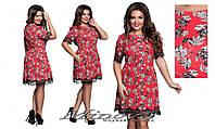 Платье женское короткий рукав принтованный креп украшено кружевом  размеры 50-56