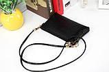 Лаковая сумочка-клатч с ремешком через плечо черная, фото 3