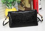 Лаковая сумочка-клатч с ремешком через плечо черная, фото 2