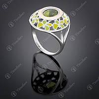 Серебряное кольцо с хризолитом. Артикул П-390