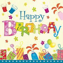 """Декупажная салфетка """"Happy Birthday"""", 33*33 см, 18 г/м2, Maki, SLOG011601, 532836"""