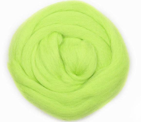 Шерсть для валяния, 50 грамм, флуоресцентный зеленый 1381, Nako keche, 013811