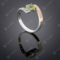 Серебряное кольцо с хризолитом и фианитами. Артикул П-391