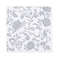"""Декупажная салфетка """"Орнамент цветы"""", серебро, 33*33 см, 17,5 г/м2, ti-flair, 340724"""