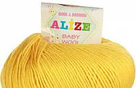 Пряжа Alize BABY WOOL, желтый 216, 50*175, 022490