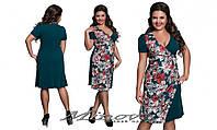 Комбинированное женское платье креп-дайвинг размеры 50-56