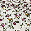 Вафельная ткань с фиолетовым цветочком, ширина 150 см