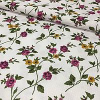 Вафельная ткань с фиолетовым цветочком, ширина 150 см, фото 1