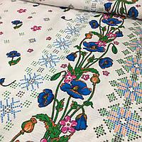 Вафельная ткань с синими маками и вышивкой крестиком, ширина 150 см