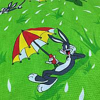 Вафельная ткань детская с кроликом Бакс Бани, ширина 150 см, фото 1
