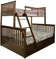 """Кровать трехместная двухъярусная деревянная """"Олигарх"""" (лак)"""