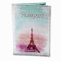 Обложка для паспорта из кожзама *Рассвет в Париже*