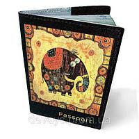 Обложка на паспорт кожаная Счастливый слон