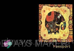 Обложка на паспорт кожаная Счастливый слон, фото 2