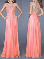 DL-998 Модное длинное вечернее платье 2017 на свадьбу, выпускной и другое торжество M, розовый