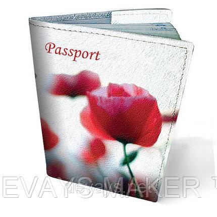 Обложка на паспорт кожаная Маки, фото 2