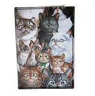 Обложка для паспорта из кожзама *Котейки*