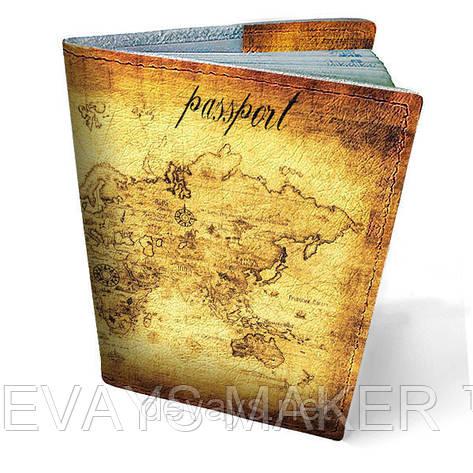 Обложка на паспорт кожаная Карта мира, фото 2