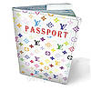 Обложка на паспорт кожаная белый Луи Витон