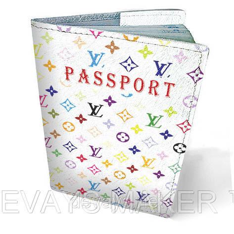 Обложка на паспорт кожаная белый Луи Витон, фото 2