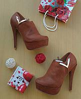 Ботильоны ботинки Деми весна , коричневый
