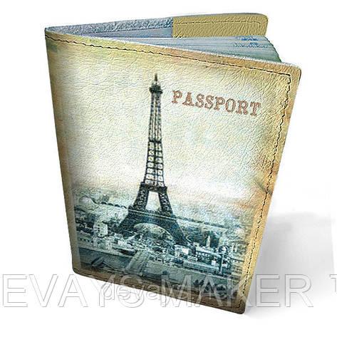 "Обкладинка на паспорт,натуральна шкіра ,""Париж"", фото 2"