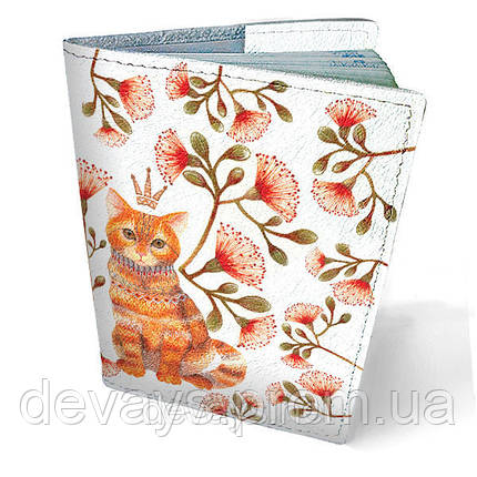 Обложка на паспорт кожаная Кот в цветах, фото 2