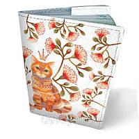 Кожаная обложка для паспорта Кот в цветах