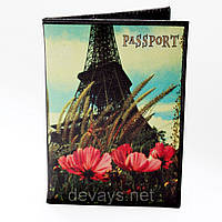 Обложка для паспорта из кожзама *Париж и маки*