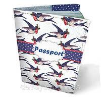 Обложка на паспорт кожаная Ласточки