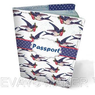 Обложка на паспорт кожаная Ласточки, фото 2
