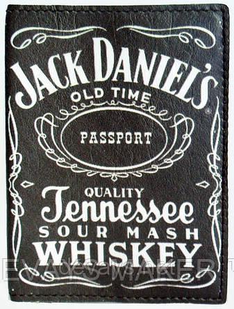 Обложка на паспорт кожаная Jack Daniels, фото 2