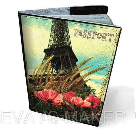 Обложка на паспорт кожаная Хочу в Париж, фото 2