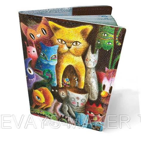 Обложка на паспорт кожаная Кошачья радуга, фото 2