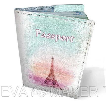 Обложка на паспорт кожаная Утро в Париже, фото 2