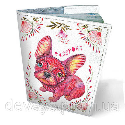 Обложка на паспорт кожаная Пёс в цветах, фото 2