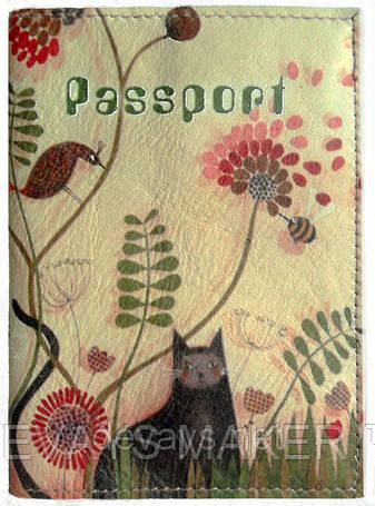 "Обложка на паспорт кожаная ""Кот в саду"", фото 2"
