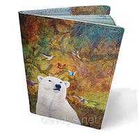 """Обложка на паспорт кожаная """"Белый мишка"""""""