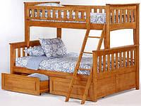"""Кровать двухъярусная трехместная деревянная """"Жасмин"""" (лак)"""