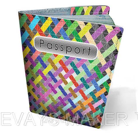 Обложка на паспорт кожаная Полоски, фото 2