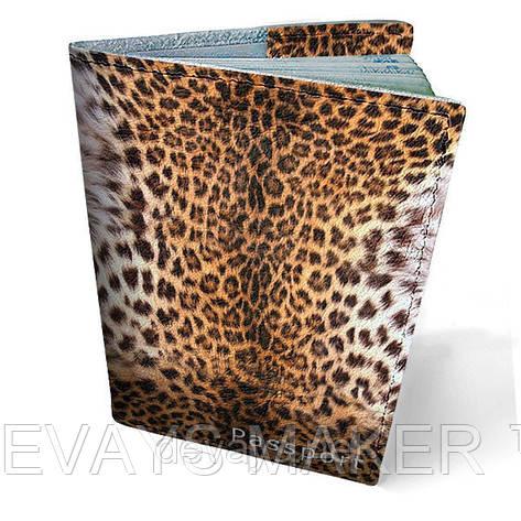 Обложка на паспорт кожаная Леопард, фото 2