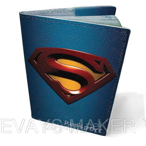 Обложка на паспорт кожаная Супермен, фото 2